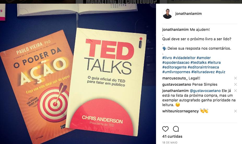 Comentário do Gustavo Caetano no Instagram